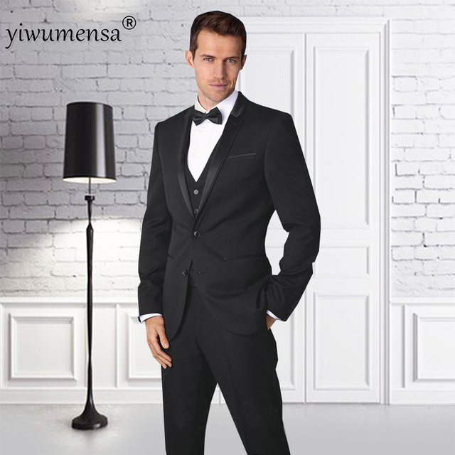 Yiwumensa fumar masculino 3 unidades Negro hombres traje trajes de boda  para hombres 2018 chaqueta + 4cc7963120c8