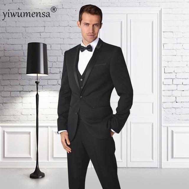 08bcb5576ec1e Yiwumensa sigara masculino 3 parça siyah Erkek takım elbise düğün elbise  2018 ceket + yelek +