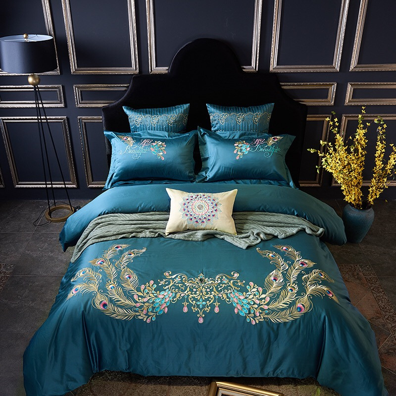 100S Egypt Cotton Peacock feather Embroidery Luxury Bedding Set 4/6Pcs King Queen Size Bed set Duvet Cover Bed Sheet