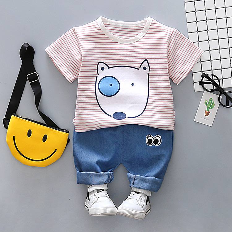 Boys suit new summer boy striped short-sleeved t-shirt + denim pants two-piece infant cute casual suit