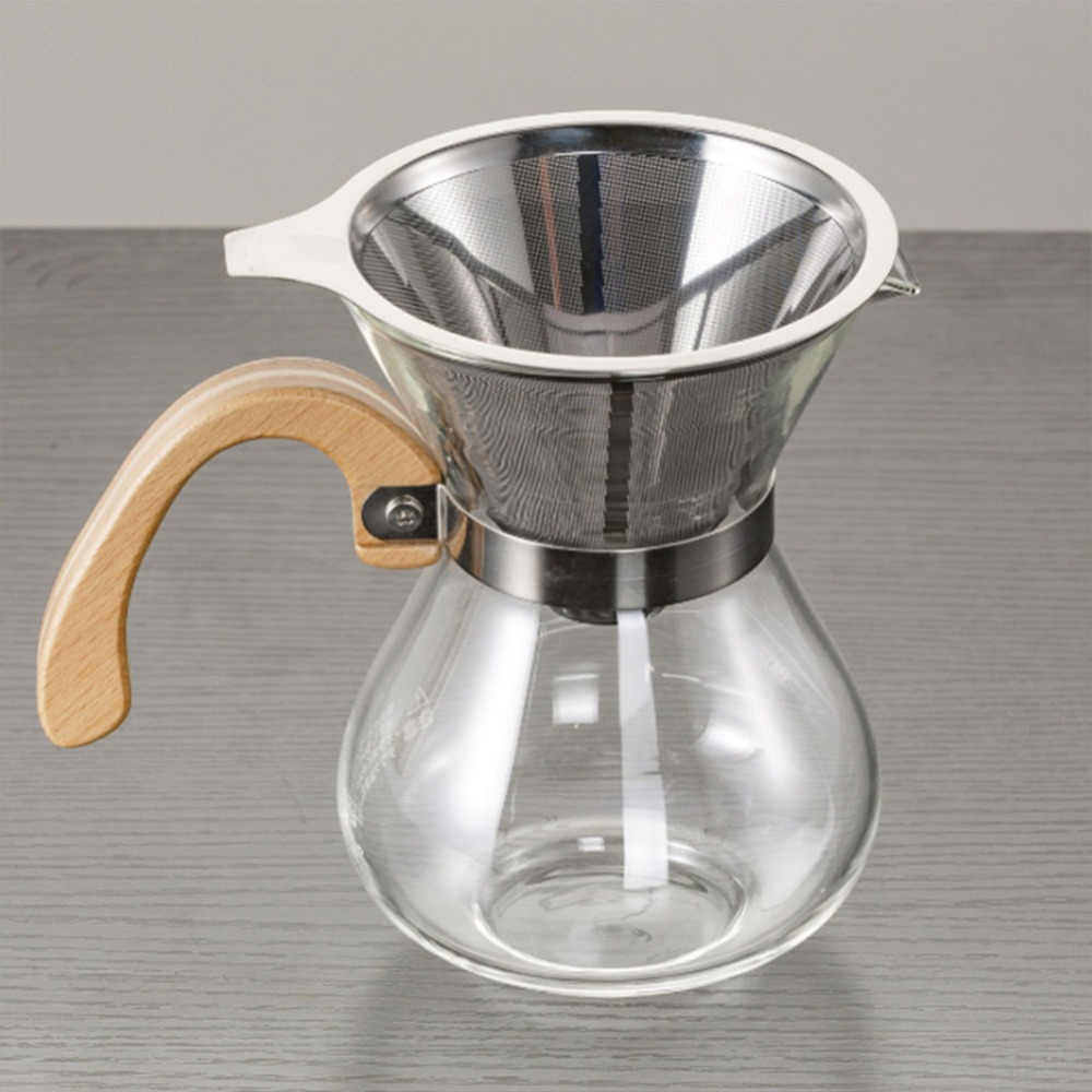 Stainless Steel Coffee Funnel Kitchen Funnels Cone Coffee Filter Mesh Dripper Wine Sauce Kitchen Filter NO glass cup holder