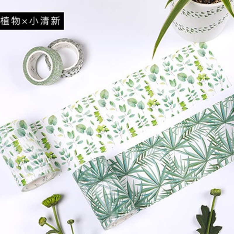 Romantic Green Pink Blossom Washi Tape DIY Decor Scrapbooking Sticker Masking Paper Decoration Tape Adhesive School Supplies