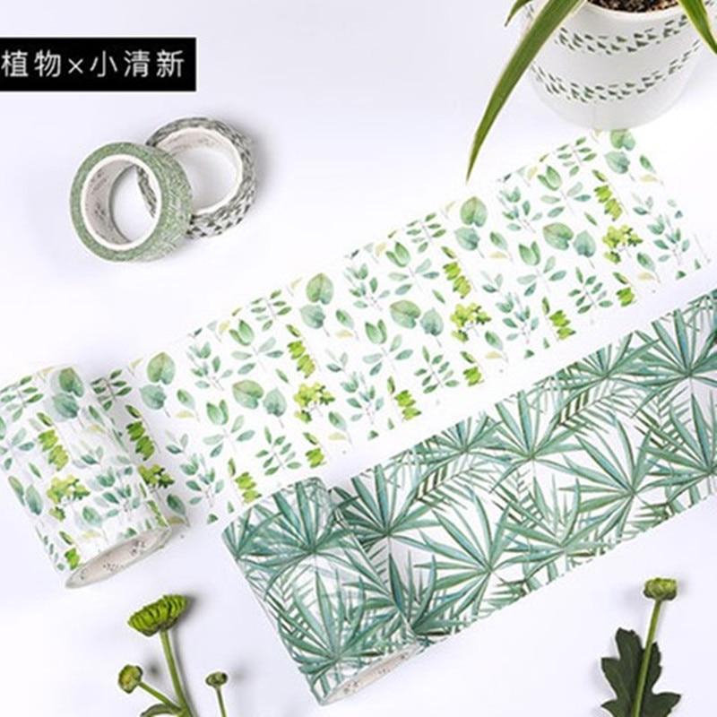 Romantic Green Pink Blossom Washi Tape DIY Decor Scrapbooking Sticker Masking Paper Decoration Tape Adhesive School Supplies
