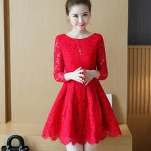 6820a69e4e0 Spring Autumn Lace Dress 2018 New Korean Fashion Mini Vestidos Women Long  Sleeve Temperament Red Lace Dresses AH193