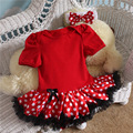 Xmas hot sale 2015 spring new born baby clothes girl boys Cartoon minnie short sleeves jumpsuit 0-12 months baby rompers