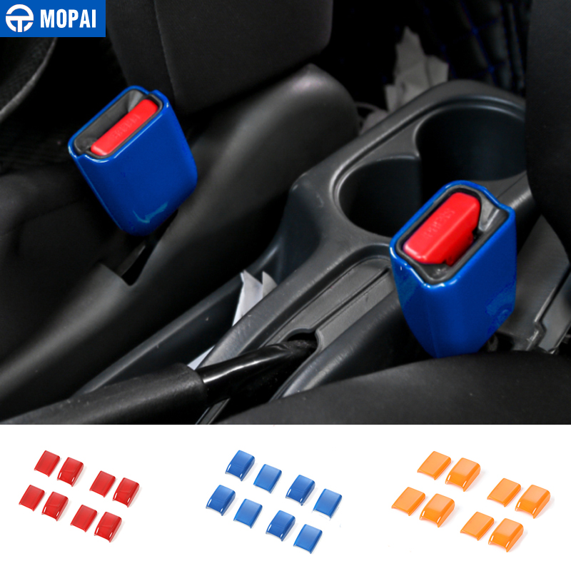 MOPAI ABS Car Interior Safety Belt Socket Decoration Cover Trim Stickers For Suzuki Jimny 2007-2015 Car Styling mopai abs exterior outer car body door side decorative sticker moulding trim car cover styling for suzuki jimny 2008 up