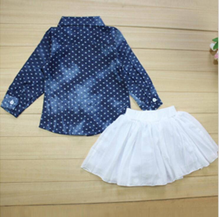 aad94be9b € 73.37  7 Set/lote infant toddler chica corazón denim camisa + falda  plisada ropa de niños chica Europea denim tops falda pequeña outfit en ...