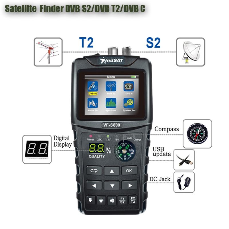 HD Digital Satellite Finder Combo Support DVB-T2/DVB S2/DVB C Sat Finder Meter For Satellite TV Receiver Dvb T2 Tuner