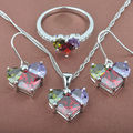 Heart Design Multicolor Cubic Zirconia Women's Silver Jewelry Sets Necklace Pendant Earrings Rings Free Shipping TS065
