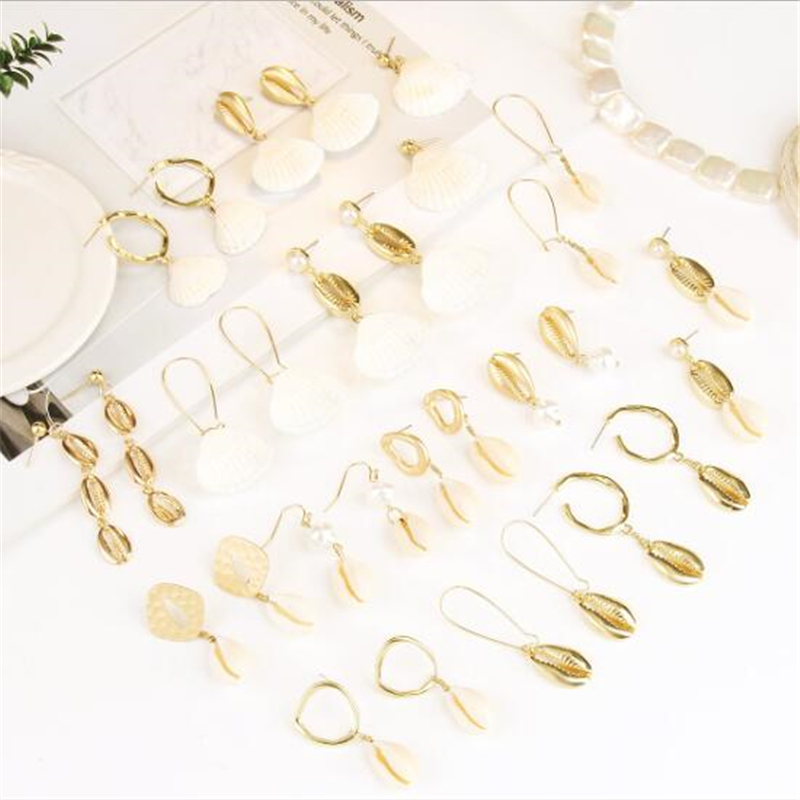 15 Style Sea Shell Earrings For Women Gold Metal Shell Cowrie Statement Earrings 2019 Summer Beach Drop Earrings Jewelry