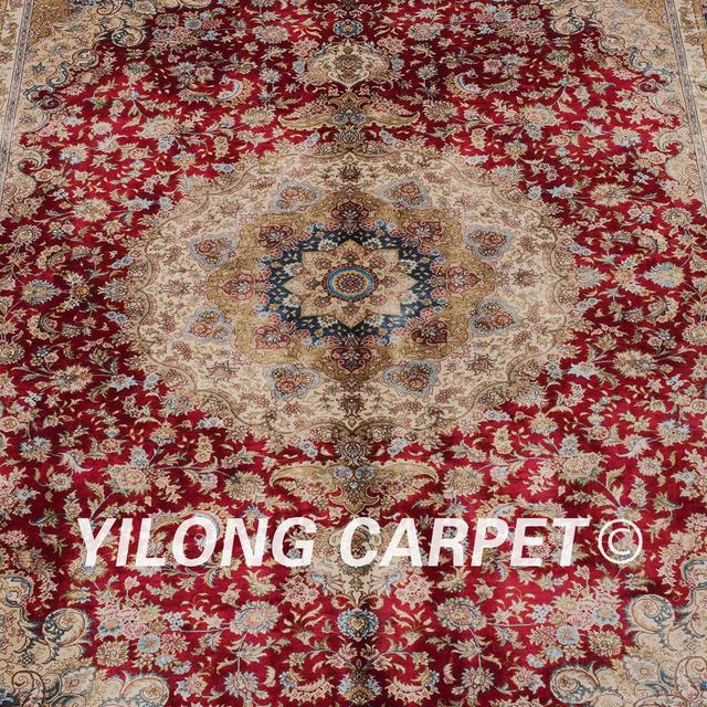 Yilong 6x9 Turkish Design Carpet Hand Knotted Persian Silk Red Rugs For Sale ZQG097A6x9
