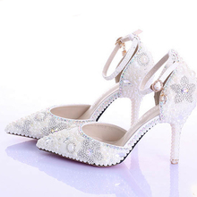 Sexy Pointed Toe Wedding Shoes Fashion Ivory Pearls Genuine Leather Party Prom Heels Ankle Straps Rhinestone
