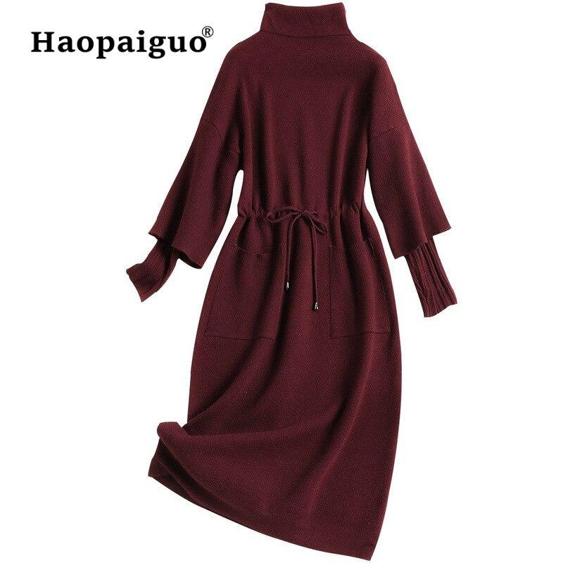 Casual Tricoté Noir Robe Femmes Col Roulé À Manches Longues Midi Robe Vintage Hiver Chaud Doux Dames Robes Robe Femme Hiver 2018