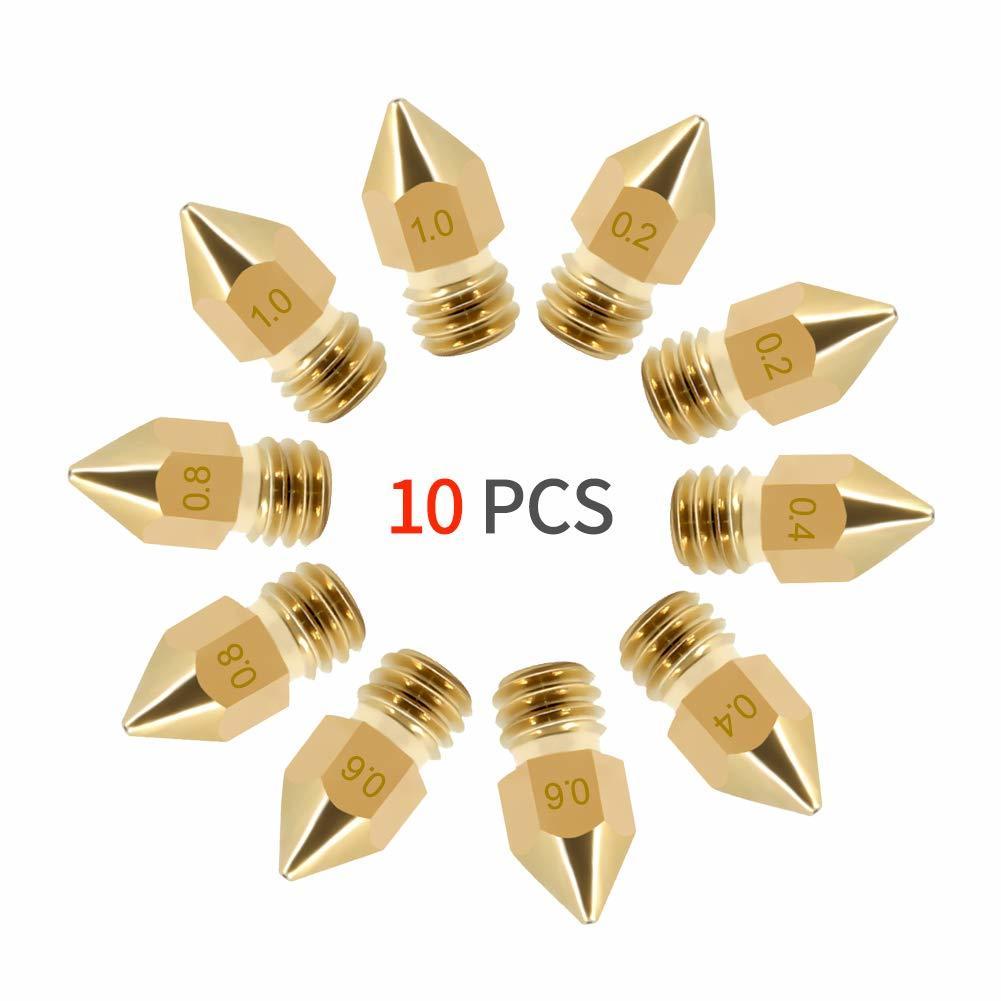 10 шт., насадка MK7 MK8 0,4 мм 0,2 мм 0,6 мм 0,8 мм 1,0 мм, медные детали для 3D-принтеров, экструдер с резьбой 1,75 мм, головка накаливания, латунные насадки