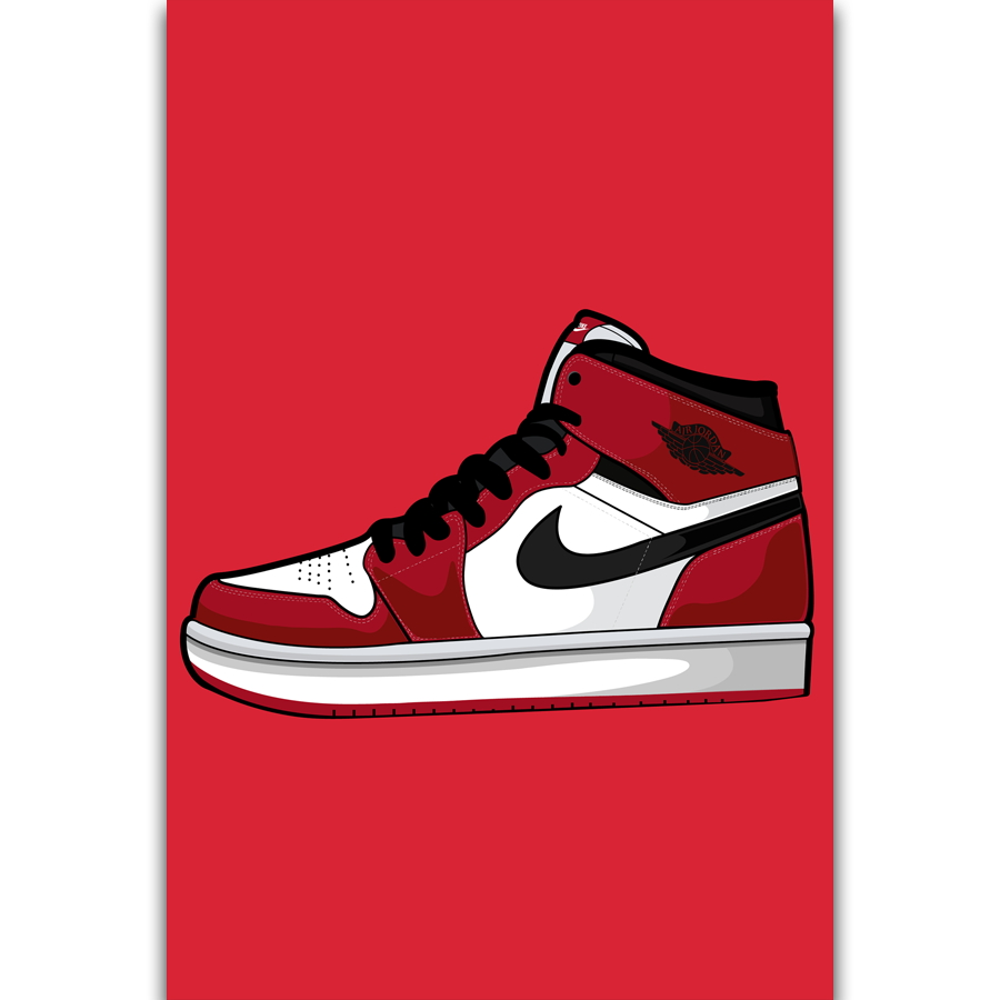 1dd4e9ea802156 S2789 Michael Jordan AJ AF 1 Shoes Sneaker Fashion History Wall Art  Painting Print On Silk