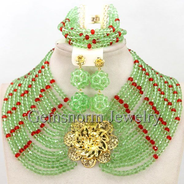 Lemon Green/Red Chunky Crystal Beads African Nigerian Wedding Necklace Set Women Party Costume Jewelry Set Free Shipping WB666Lemon Green/Red Chunky Crystal Beads African Nigerian Wedding Necklace Set Women Party Costume Jewelry Set Free Shipping WB666