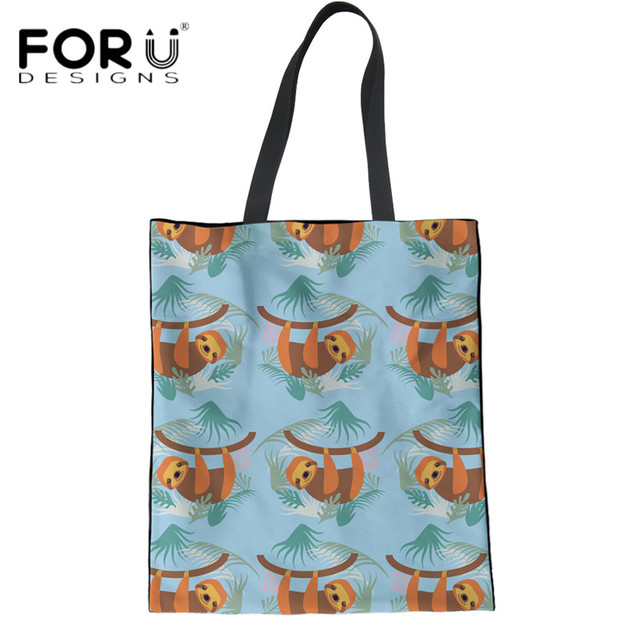 b53001436726 FORUDESIGNS Casual Women Reusable Grocery Bags Cartoon Sloth Print Female  Eco Shopping Linen Bags Teens Girls Canvas Book Bags