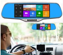 Excellent 7.0″ IPS Touch Android 4.4 Reversing Rearview mirror video wifi Car DVR Dual Camera GPS navigation Built 16GB free map
