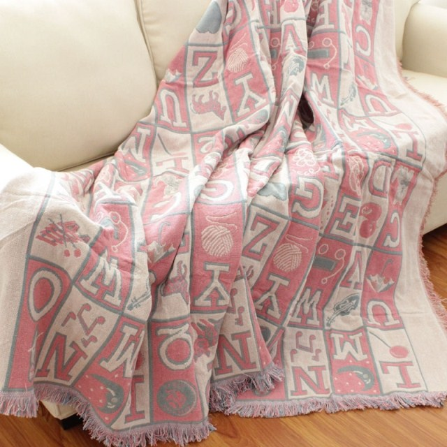 цены  Free shipping girls' pink letters thickened children cartoon sofa leisure blanket bedspread 100%cotton thread throw bed cover