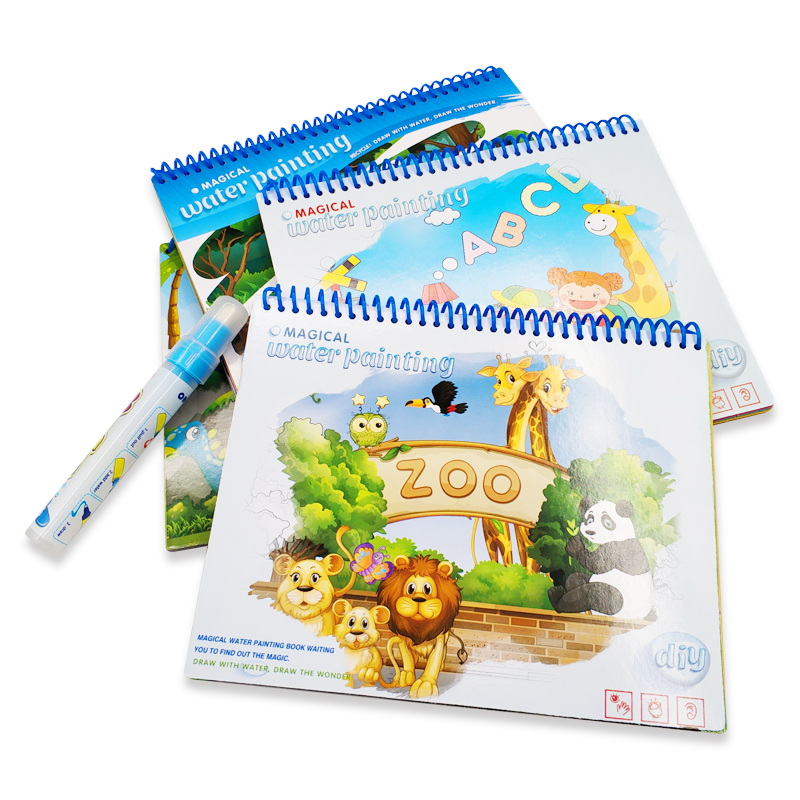 Magic Water Drawing Book Reusable Coloring Books Doodle With Magic Pen Cartoon Painting Drawing Board For Kids Education Toys
