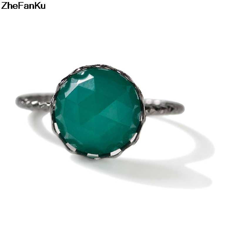 แฟชั่น Luxury Rose Gold Wedding Ring แหวนรูปไข่ขนาดใหญ่สีเขียวหินคริสตัลแหวนผู้หญิงเครื่องประดับ
