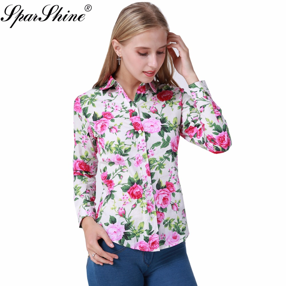 2017 summer long sleeve cotton blouse shirt white red for White floral shirt womens