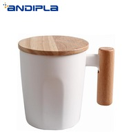 350 ml Brief Nordic Black and White Coffee Cup Home Tea Water Cup Office Drinkware Wooden Handgrip Milk Mug Ceramic Crafts Decor