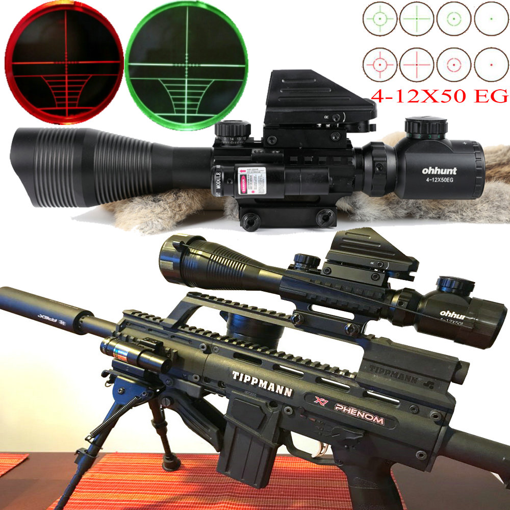 Hunting Airsofts Riflescope 4-12X50 EG Tactical Air Gun Red Green Dot Laser Sight Scope Holographic Optics Hunting Rifle Scope