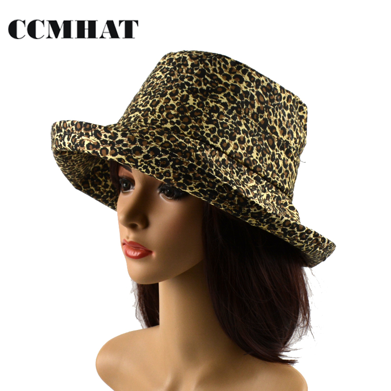 CCMHAT Women Bucket Hats 2017 Summer Cotton Hat Leopard Print Adult Bucket Hats Caps Foldable Sunscreen Boonie Hat Caps
