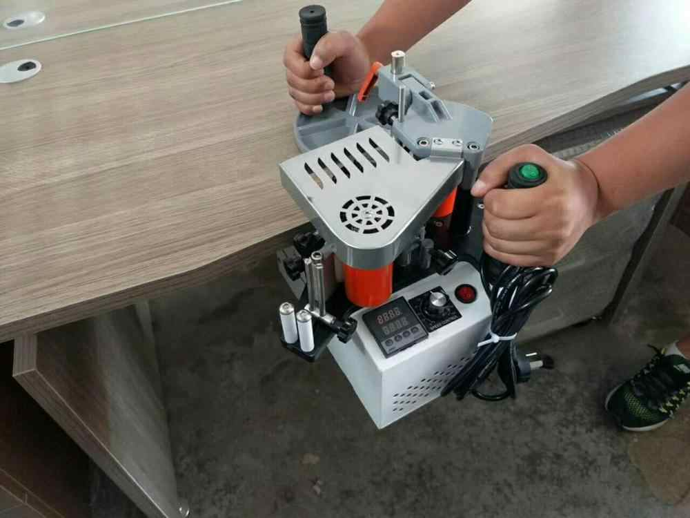 Portable Tepi Bander Edge Banding Machine Mini Edgebander Dua Sisi Perekat