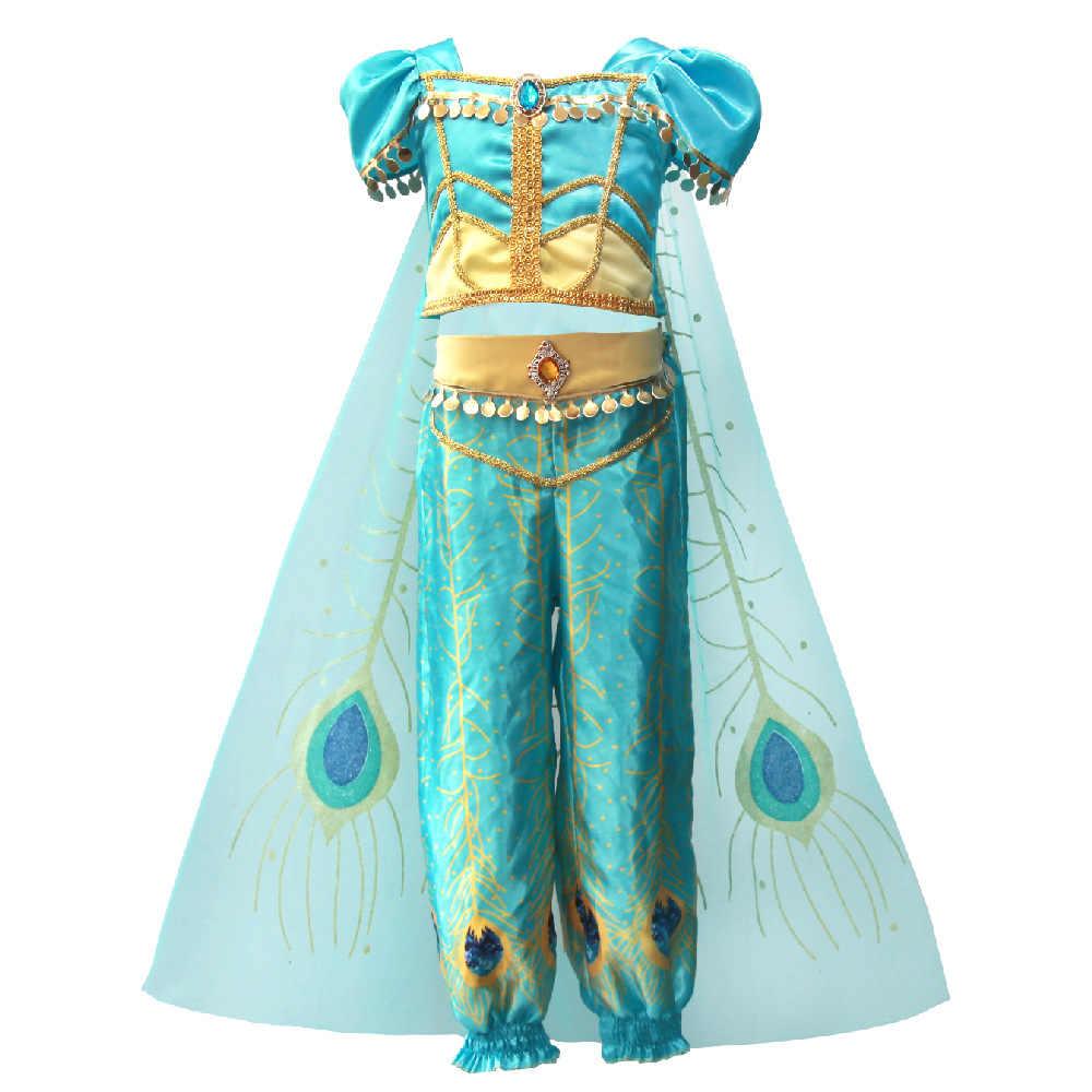 Костюм на Хэллоуин для девочек; платье принцессы костюм Жасмин из Сторибрука по Лампа Алладина Косплэй костюм наряд книга недели День защиты детей живота нарядное платье