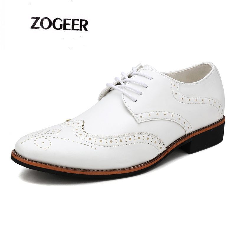 Luxury Italian Pointed Toe Oxford Men Brogue Dress Shoes Carved Leather Mens Black White Wedding Shoes
