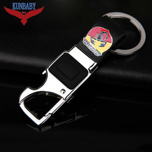Metal Leather Car Key Ring Holder Multifunctional Tool Keychain With LED Bottle Opener Man's Strap Car Key Chains For Abarth