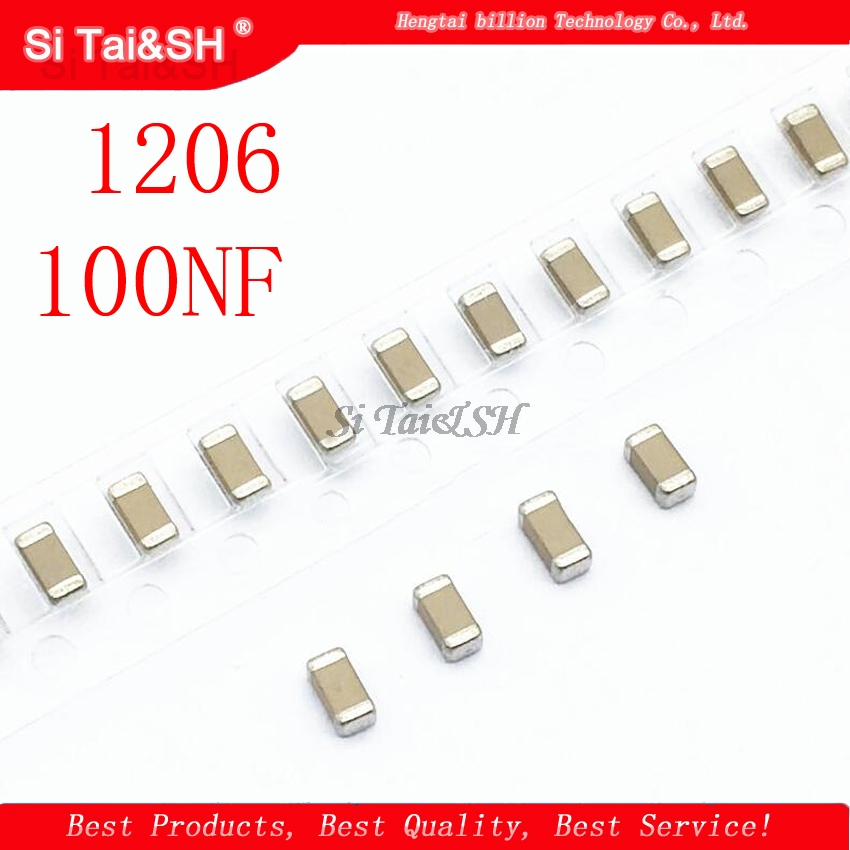 100pcs <font><b>100NF</b></font> X7R Error 10% 50V 0.1UF 104 1206 <font><b>smd</b></font> capacitor image