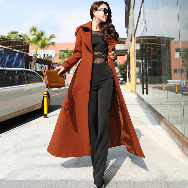 Plus Size 3XL Super Long Wool Coat Women Manteau Femme Fashion Elegant Winter Coat Women Lapel Warm Outerwear Women Parka C5128 1