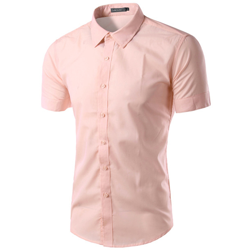 New Pink Shirt Men 2016 Brand Mens Slim Fit Short Sleeve Cotton ...