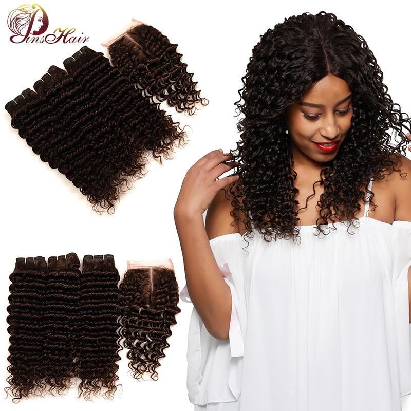 Pinshair Light Brown Deep Wave Bundles With Closure Color #4 Peruvian Hair 3 Bundles With Closure Non-Remy Human Hair No Tangle