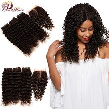 Pinshair Light Brown Deep Wave Bundles With Closure Color #4 Peruvian Hair 3 Bundles With Closure Non-Remy Human Hair No Tangle(China)