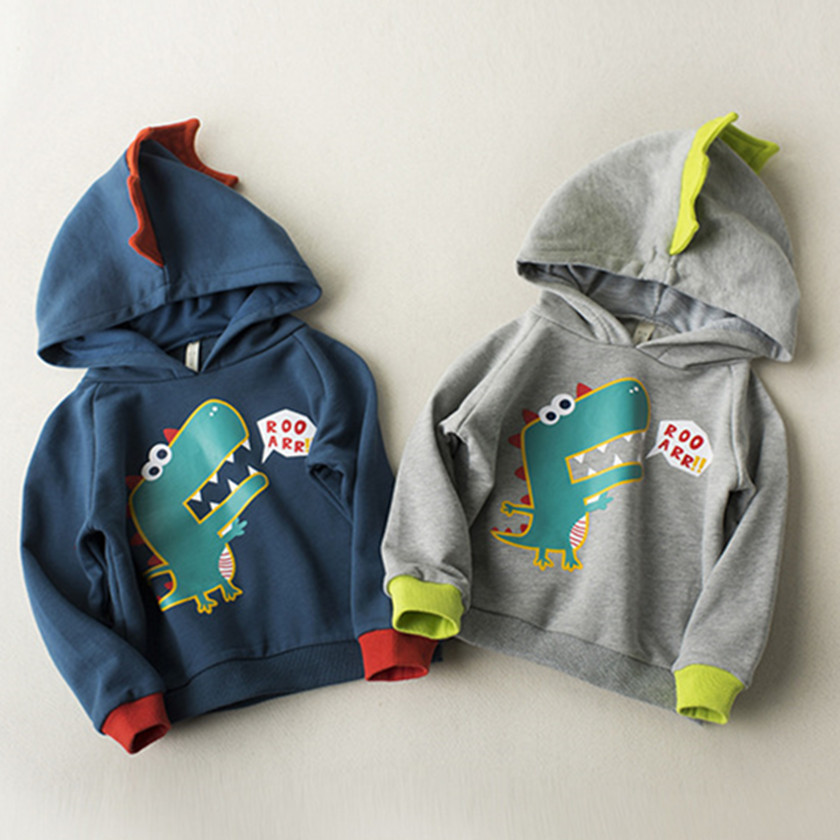 New Style 2018 Baby Kids Dinosaur Coat Boys Toddlers Hoodies Tracksuit Children ClothingsSets Sportswear 2-7Y Gray/Navy C86116A