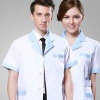 New modelsUnisex white doctor medical lab coat clothing medical services uniform scrub clothing short sleeve with free