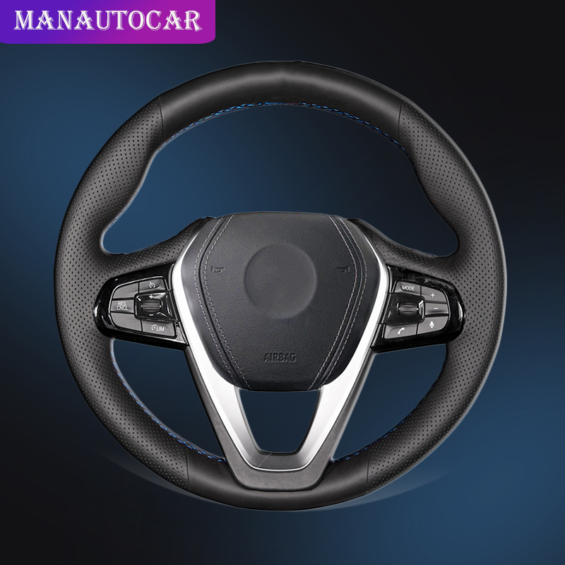 Car Braid On The Steering Wheel Cover for <font><b>BMW</b></font> <font><b>G30</b></font> <font><b>530i</b></font> 540i 520d 530e 2016-2018 G32 GT 630i 630d 2017-2018 Auto Wheel Covers image