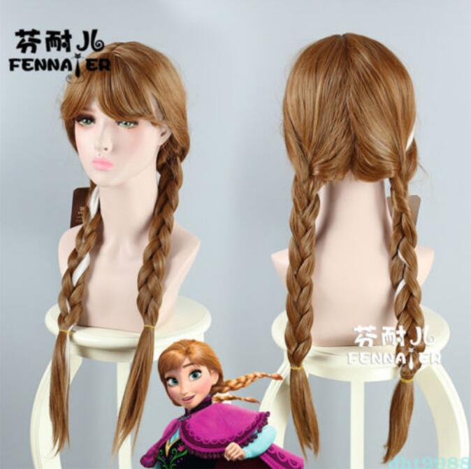 Jewelry Wig Movies Frozen Snow Queen Anna Brown Cosplay Party Costume Wig Free Shipping(China)