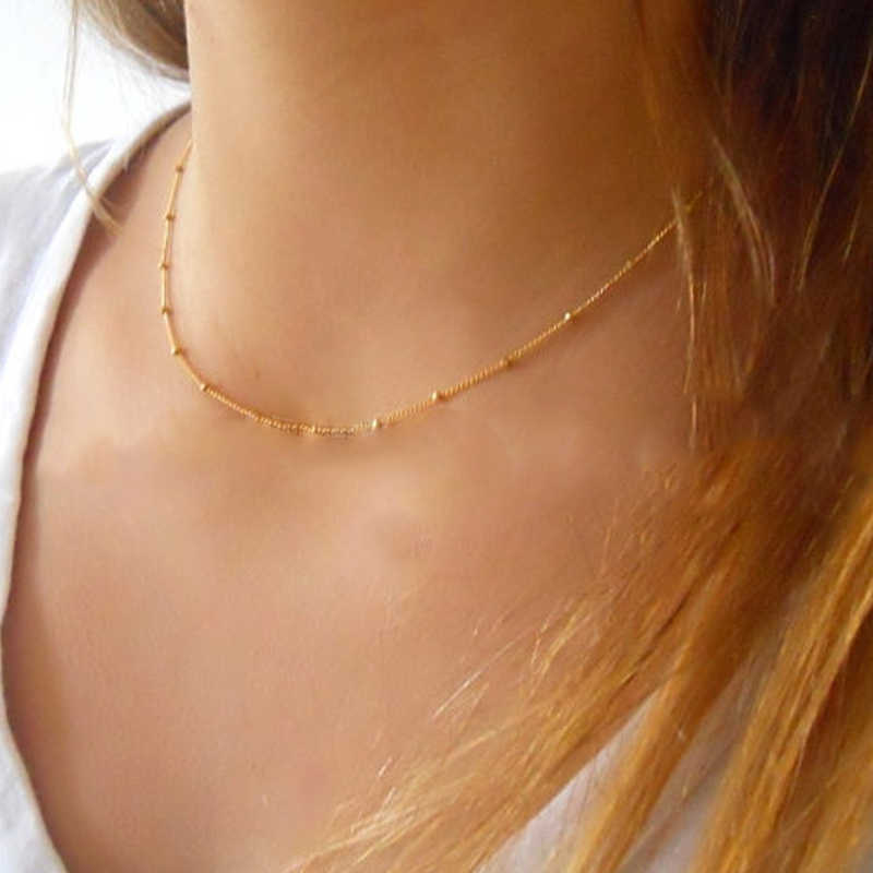 Fashion Thin Choker Necklace Dainty Gold Silver Color Bead Necklace For Women Satellite Chain Jewelry Collares  XL421