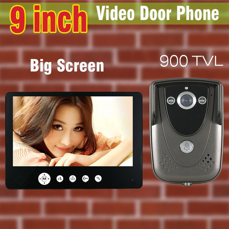 Wholesale Video Intercom 9 inch LCD Monitor 900TVL Camera Video Door Phone Door Bell IR Camera Night Vision  wired doorphone