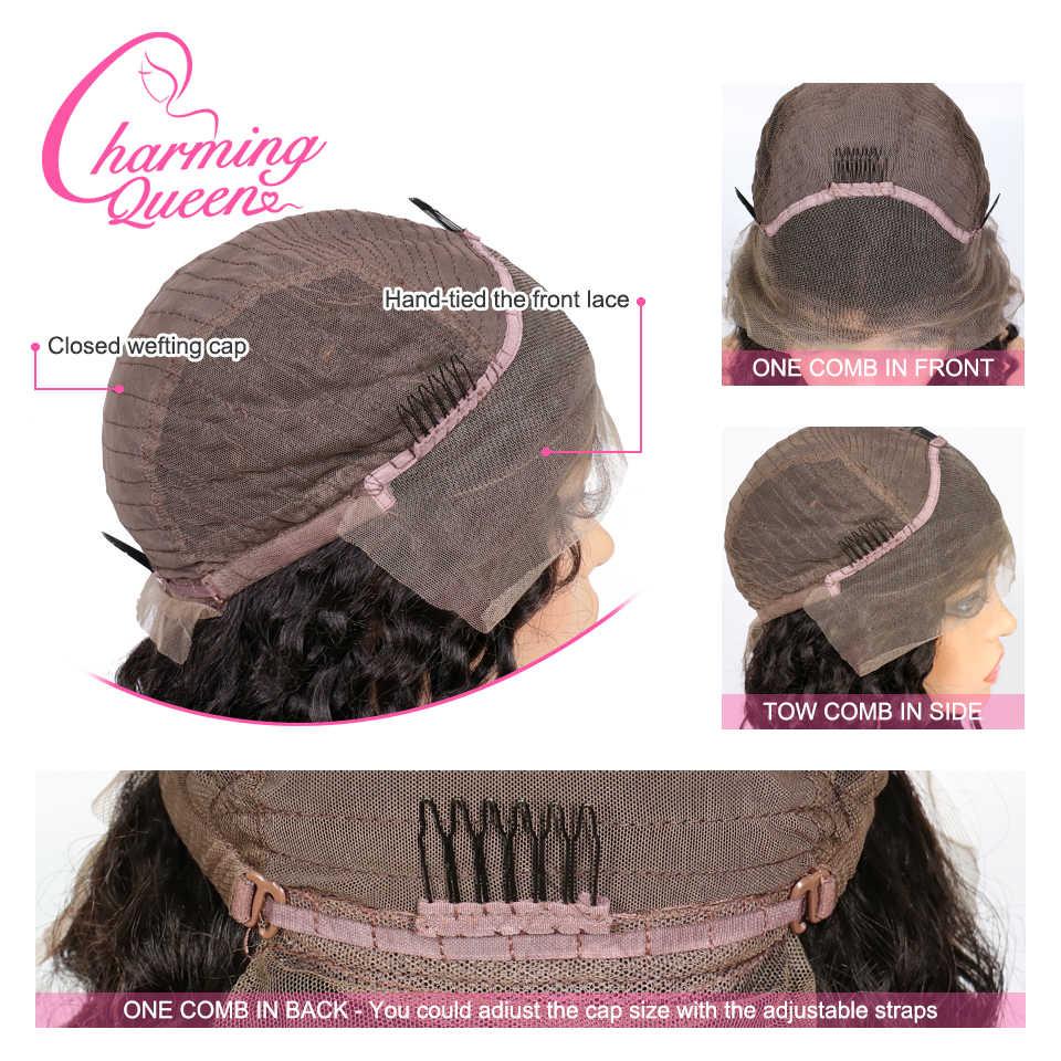 волосы кружеве человеческих волос парики женщин волна воды фигурные предварительно сорвал бразильский парики волосы