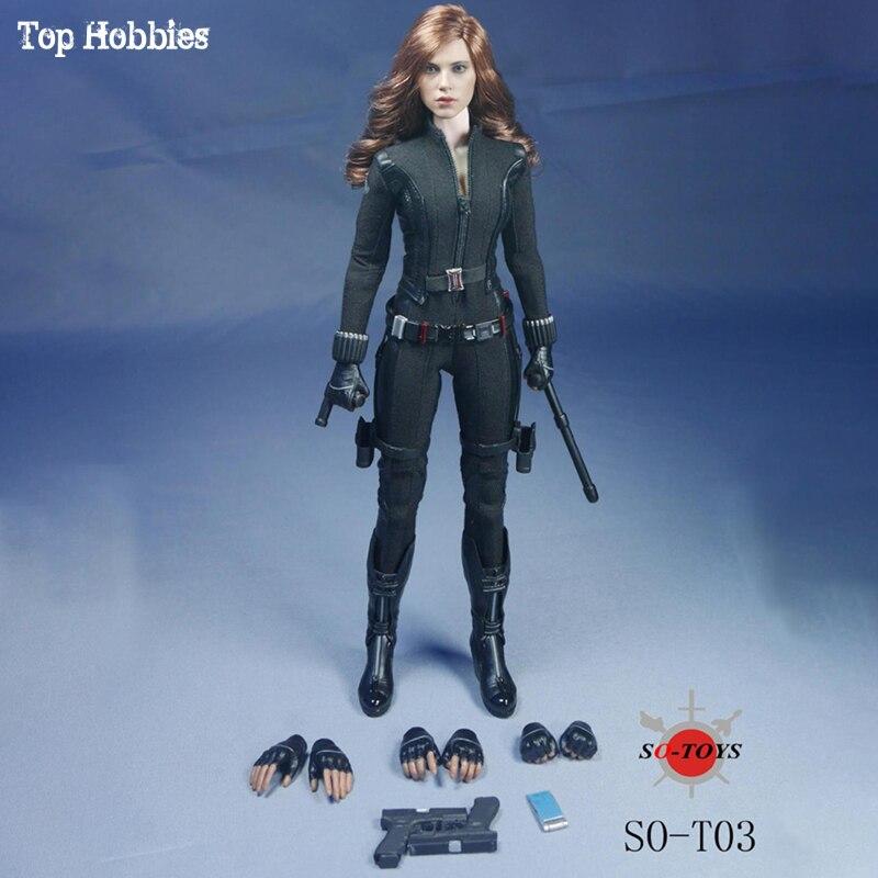 SO-T03/SO-T01 Jouets 1/6 Échelle Action Figure the Avengers Scarlett Johansson Noir Veuve Vêtements Set Costumes 12in Femme Soldat