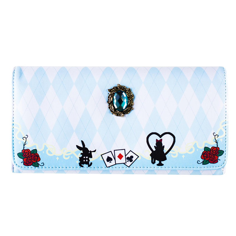 Alice in Wonderland Tea Party Print Girl's Wallet Female Long Cute Japanese Harajuku Style Wallet Clutch Purse Card Holder