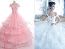 Noble Wedding Dresses 2013 Goddess Off-the-Shoulder Ball Gowns Applique Organza Floor Length LP-052