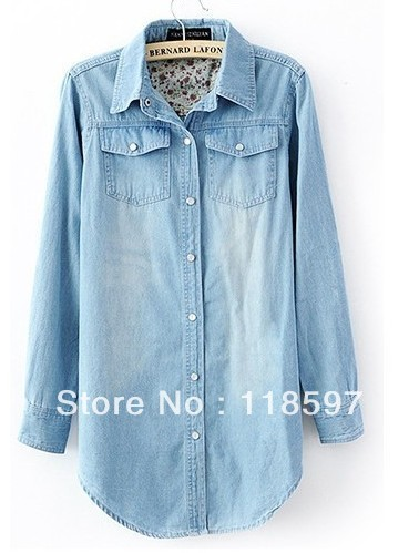 free shipping women's classic water wash medium-long denim shirt from XS to XXXL, Ladies' Denim sleeve Shirts Long Jeans Blouses