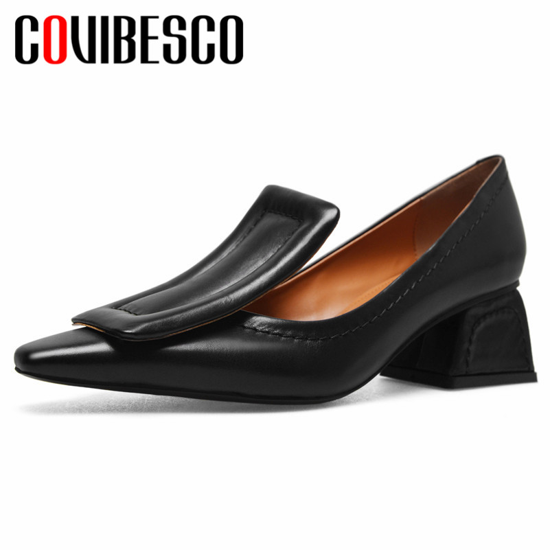 COVIBESCO 2019 Vintage Pointed Toe Women Pumps Solid Genuine Leather Office Lady Shoes Woman Shallow Strange Style Single ShoesCOVIBESCO 2019 Vintage Pointed Toe Women Pumps Solid Genuine Leather Office Lady Shoes Woman Shallow Strange Style Single Shoes
